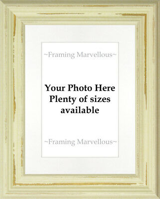Shabby Chic Cream Photo Picture Frame with White Mount - Choose size