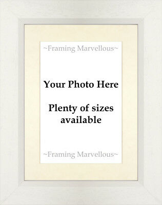 White Wooden Photo Picture Frame with Ivory Mount - Choose size
