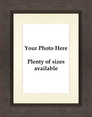 Dark Brown Wooden Photo Picture Frame with Ivory Mount - Choose size