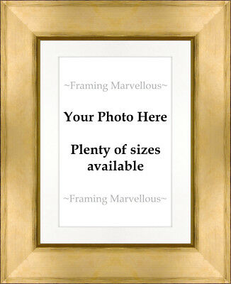 Metallic Gold Effect Photo Picture Frame with White Mount - Choose size