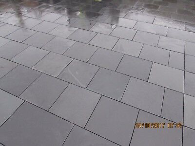 Slate Patio Slabs >> Black Slate Paving Patio Slabs Garden 5m2 400x400mm