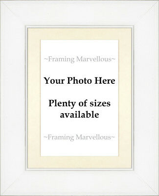 White Wash Effect Photo Picture Frame with Ivory Mount - Choose size