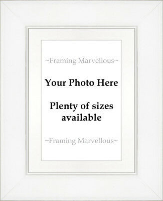 White Wash Effect Photo Picture Frame with White Mount - Choose size