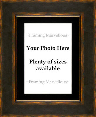 Black and Orange Effect Photo Picture Frame with Black Mount - Choose size