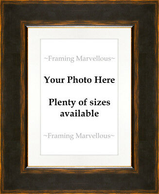 Black and Orange Effect Photo Picture Frame with White Mount - Choose size