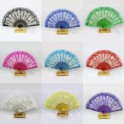 Chinese Dance Party Wedding Lace Flower Folding Hand Held Flower Fan Decal AU