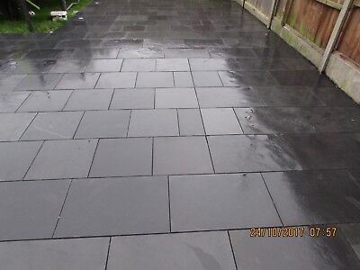 Natural  Black Slate Paving Garden Patio Slabs 12m2 400x400mm 15 to 20mm Thick