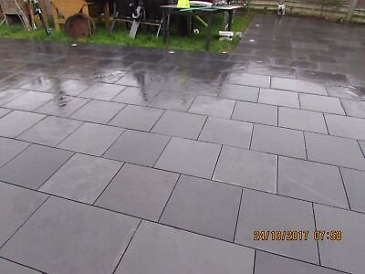 Slate Patio Slabs >> Black Slate Patio Slabs Paving Garden 15m2 400x400mm 15 To