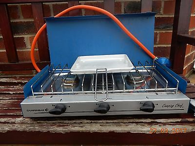 Camping Stove Campingaz Chef Calor Stove Gas Double Burner Hob & Grill Cooker