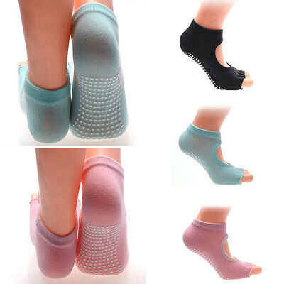 Pair Yoga Barre Gym Half Toe Grip Socks Non-Slip Toeless Cotton Ankle Socks