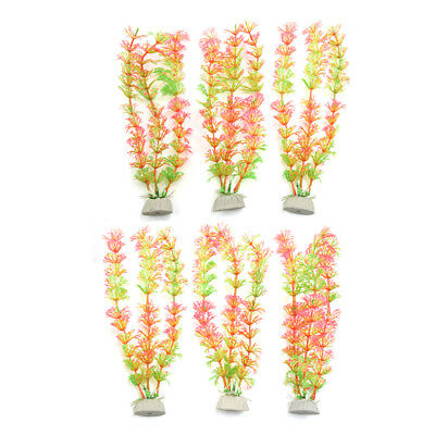 6pcs Plastic Aquarium Plants Fish Tank Grass Plant Decoration Ornament