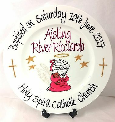 Christening Baptism Plate Hand Painted Personalised Angel design boy or girl