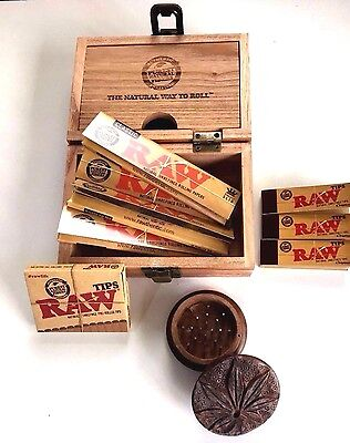 RAW Wooden Rolling Box and WOODEN Grinder Kingsize Slim Rolling Paper Tips Roach