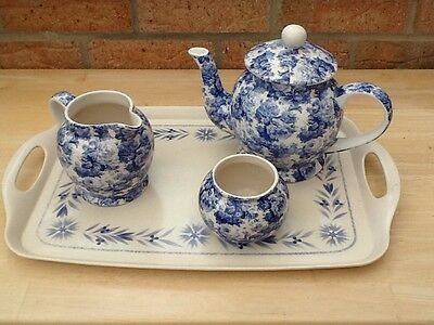 Arthur Wood China Blue /White Floral Chintz  Large Teapot, Milk Jug & Sugar Bowl