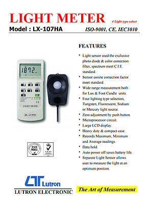 Lutron LX-107HA Digital Light Meter 4 Lighting Type 3 Ranges LUX Foot Candle