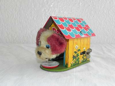 Collectable Vintage Wind up Tin Toy Dog in Kennel Made in Japan