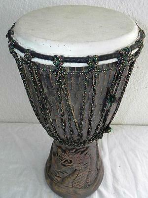 Vintage Djembe Bongo Drum Wooden Hand Carved Dragon Design Musical Instrument