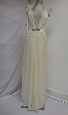 Beautiful Jenny Packham 'Aspen' wedding dress lace & silk cap sleeve UK12
