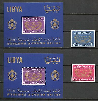 Libya 1965 ICY set of two in imperforated also two souvenir sheets for the same