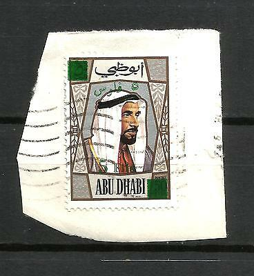 Abu Dhabi 1971 surcharge 5 fils used on piece, scarce used, SG 80.
