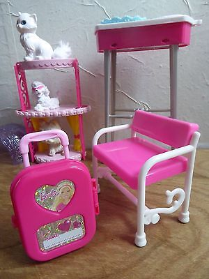 SET of Barbie pets, furniture, bookcase, suitcase and cat beauty salon