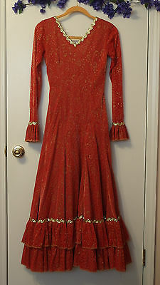 FLAMENCO Long Red Lace DRESS w/Metal.Gold Details & long sleeves X Petitte Adult