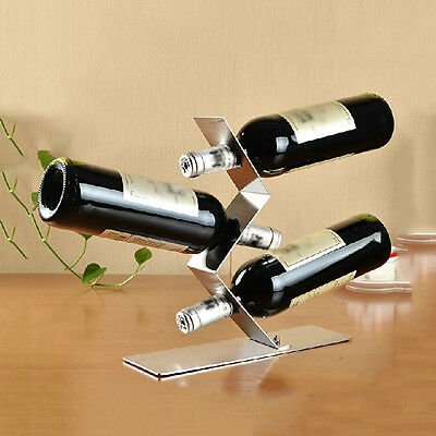 1Pc Stainless Steel Wine Rack With 3 Holes Bottle Holder Bar Kitchen Table Stand