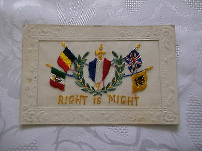 """Ww1 """"right Is Might"""" Silk Embroidered Postcard"""