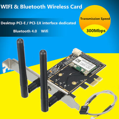 300Mbps Bluetooth 4.0 Wifi Network PCI-E Card BCM943142HM Desktop Adapter Set