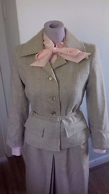 Vintage Cream  Wool  Tweed Jacket Size 12 1940s style