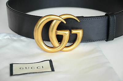 Nwt 100% Authentic Men's Gucci Black & Gold GG Logo Leather Belt Size 95=33~34