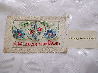 Ww1 French Silk Embroidered Postcard Kisses From Your Daddy