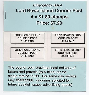 Lord Howe Island Courier Post - 4x $1.80 Stamps Price $7.20 Emergency Issue