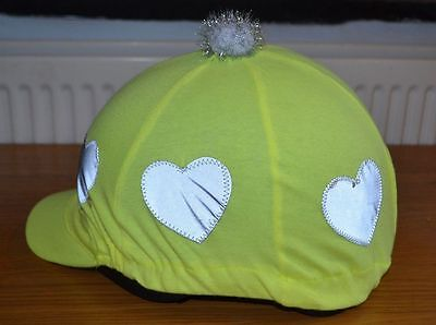 Yellow Hi Viz * Reflective * Heart Lycra Skull Cap Riding Helmet Hat Cover Silk