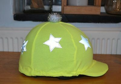 Yellow Hi Viz * Reflective * Lycra Skull Cap Riding Helmet Hat Cover Silk * Star