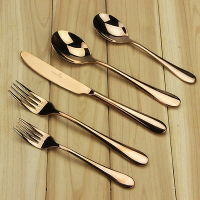 Rose Gold Plated Stainless Steel Flatware Cutlery Set Spoons Fork Dinnerware