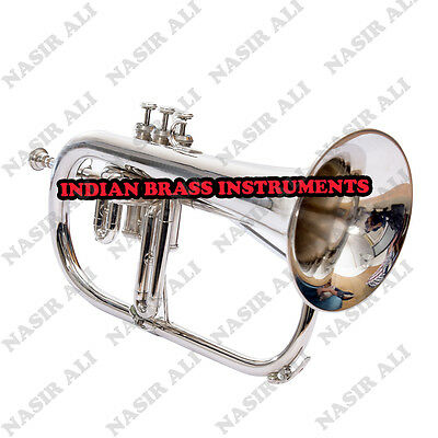 Ibi Nickel Flugel Horn 3 Valve For Sale With Free Hard Case And Mouthpiece
