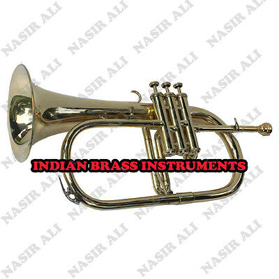 Ibi Brass Flugel Horn 3 Valve For Sale With Free Hard Case And Mouthpiece
