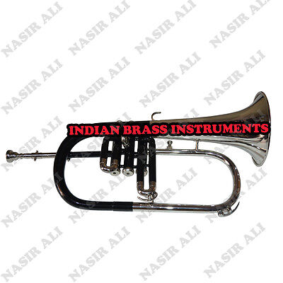 Ibi Black Color + Nickel Flugel Horn 3 Valve With Free Hard Case And Mouthpiece