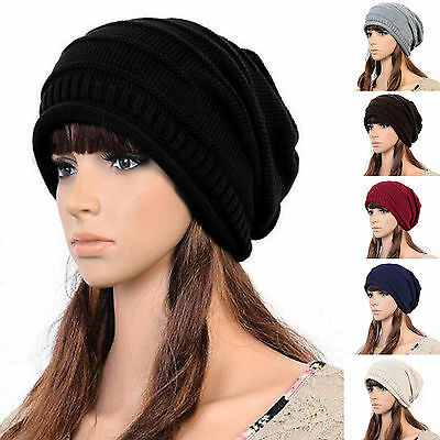 Womens Knitted Beanie Cap Thick Caps Elastic Hat Slouch Unisex Winter Warm Hats