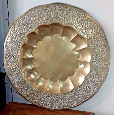 Very Large Brass Decorative Benares tray / charger plate 78cm diameter