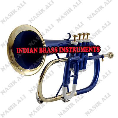 IBI BLUE +WHITE LACQUER FLUGEL HORN Bb PITCH FOR SALE WITH FREE HARD CASE AND MP