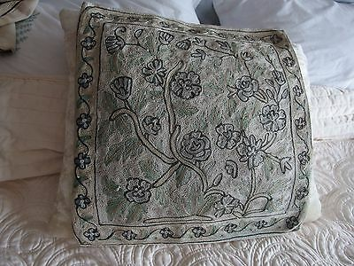 vintage crewel work hand silk embroidery cushion cover