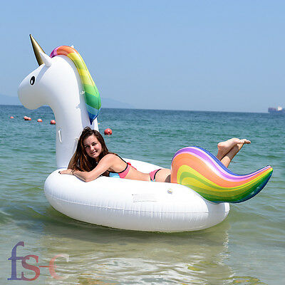 Giant Inflatable Unicorn Water Float Raft Swimming Pool Lounger Beach Sports Toy