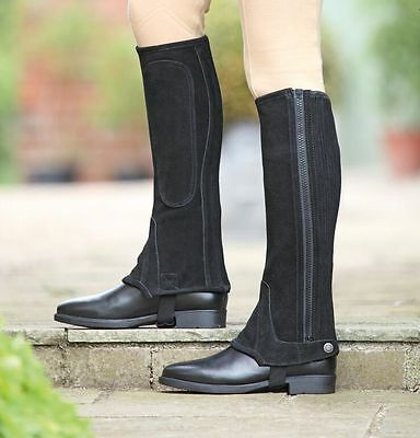 NEW Shires Adults Suede Half Chaps Black Size Choice Riding