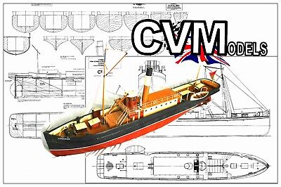 MODEL BOAT PROJECT PLAN/DRAWING to build a scale R/C Steam Tug 'Conqueror'  M057