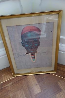 W. M. Otto African American art African Portrait Lithograph print framed vintage