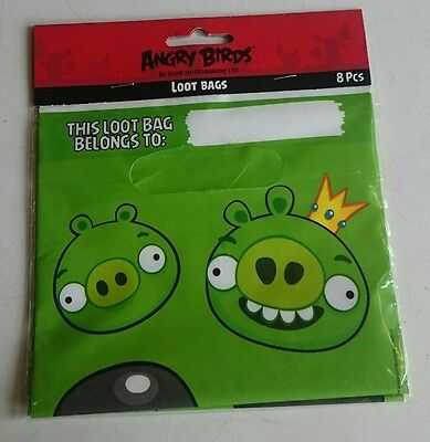 8 Angry Birds Loot Party Bags Green King Pig Rovio New Sealed Package