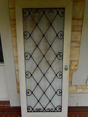 c.1950's Vintage Heavy Duty Solid Wrought Iron Screen Security Door 209cm x 88cm