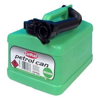 CarPlan Plastic Green Fuel Can for Unleaded Petrol with Flex Spout 5L - FREE P&P